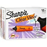 Sharpie Clear View Highlighter, Chisel Tip, 12-Pack, Orange
