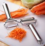 Brieftons Julienne Peeler/Cutter/Slicer: Powerful Serrated Stainless Steel Fruit/Vegetable Peeler & Julienne Slicer to Cut Prep Time By 50%
