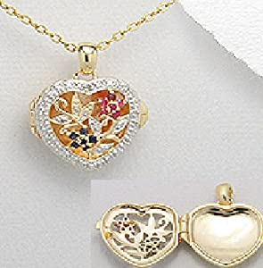 Exceptional Quality .925 Sterling Silver 14k yellow gold and rhodium plated heart locket with Gemstone white diamond, blue sapphire and ruby. 21mm x 26 mm Pendant Comes with a 20'' Chain Necklace