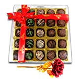 Ravishing Chocolates With 24k Red Gold Rose - Chocholik Belgium Chocolates