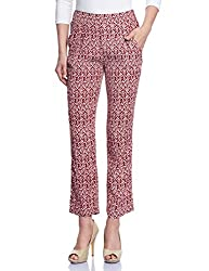 Madame Women's Patterned Pants (M1429606_Maroon_Large)