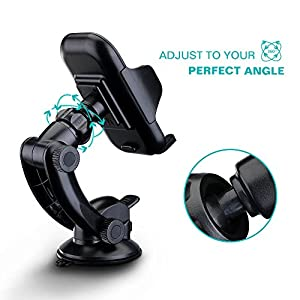 Mpow Dashboard Car Mount with One Finger Release Button and Three Side Grips Universal Cell Phone Holder GPS Windshield Car Mount Phone Cradle for iPhone 4 5 6 / 6 plus Samsung Galaxy note S3 S7 5 6