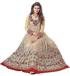 Dipak Fashion New Designer Beige Fancy Embroidery Brasso Salwaar Kurti For Women