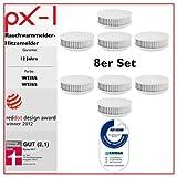 8er Set – PX-1 Rauchwarnmelder / Hitzemelder (weiß/weiß) 12 Jahre Garantie, mit TÜV-Qualitätssiegel