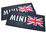 Mini & UK Flag , Iron On Patch with Lock-Stitch Optical Effect - 2 off
