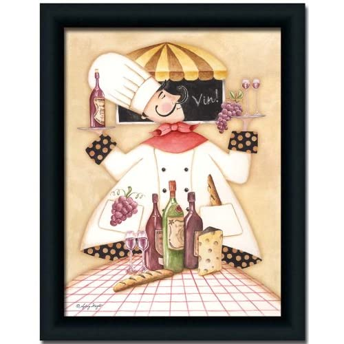 Fat Chef Kitchen Accessories: Vineyard Fat Chef Kitchen Décor Art Print Picture Framed 12x16