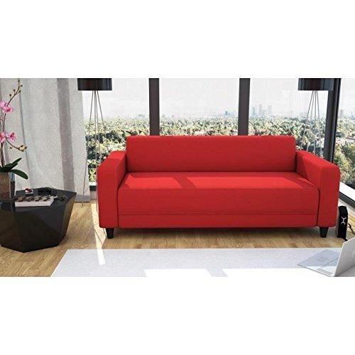 Finlandek canapé fixe kulma 3 places - tissu - 180x79x70 cm - rouge