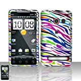 Colorful Zebra Rubberized Snap on Design Case Hard Case Skin Cover Faceplate for Sprint Htc Evo 4g
