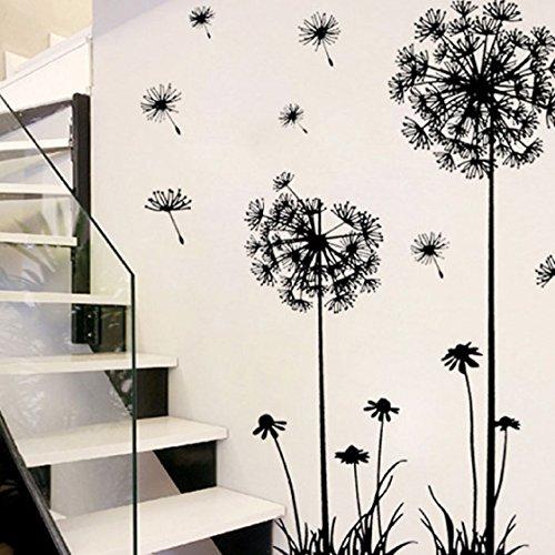 Vovotrade Noir Creative PVC Pissenlit Fleur Arbre Plante Grande amovible Wall Decal