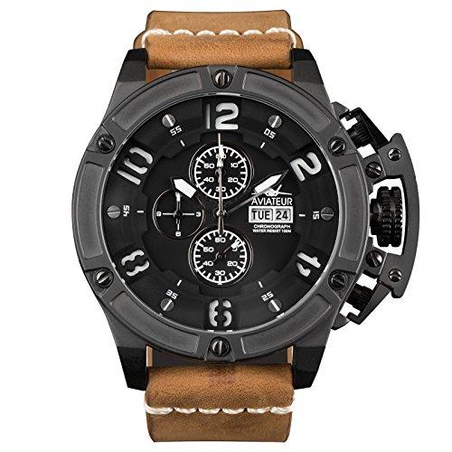 infantryr-mens-analogue-quartz-wrist-watch-flyback-chronograph-genuine-leather-band-waterproof
