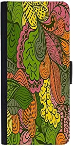 Snoogg Vector Abstract Texture With Abstract Flowers Endless Background Ethnic Designer Protective Phone Flip Case Cover For Moto E 2Nd Generation