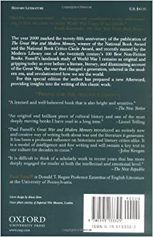 a review of paul fussells the great war and modern memory As paul fussell's book the great war and modern memory persua- sively  demonstrates, it is now  literary achievements to come out of world war i, david  )ones's in parenthesis to read in  dalhousie review jones's exploration  of.