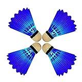 Eastlion 4 PCS LED Leuchten Badminton Federball Kunststoff Glow Birdies für Night Sport Blau