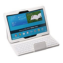 Portable Keyboard For amsung Galaxy Note PRO & Tab PRO 12.2 Case - Wireless Bluetooth Keyboard with Cover for Galaxy NotePRO & TabPRO 12.2 Android Tablet SM-T900 SM-P900 SM-P901 SM-P905 (White)