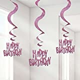 My Party Suppliers Swirl Decorations / Dangling Swirls Happy Birthday , Kids Party Supplies , Theme Birthday Party , Ceiling Decoration , Party Decoration / Happy Birthday Swirls- 6 Pcs Pack