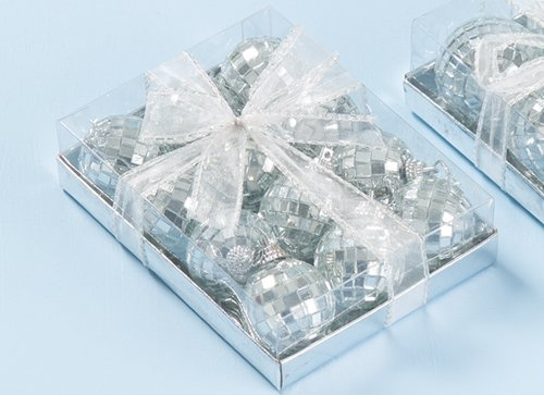 Pack of 12 Silver Mirror Christmas Tree Baubles (PM109)