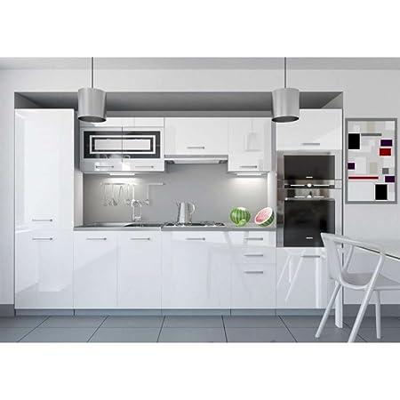 JUSThome Infinity LED Kuchenzeile Kuchenblock Kuche 300 cm Farbe: Weiß Hochglanz
