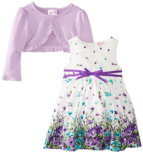 Younghearts Little Girls' 2 Piece Floral Dress Set, Star Sphere, 2T