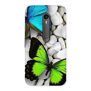 Ajay Enterprise Elite Butterflies Green Blue Back Case Cover for Moto G3