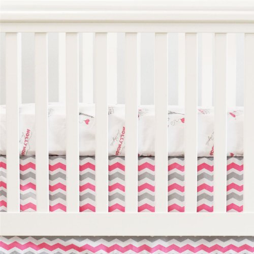 Oliver B 2 Piece Crib Bedding Set, Pink/Grey - 1