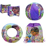 Disney Doc McStuffins 4 Piece Pool Toy Swim Set: Beach Ball, Swim Ring, Arm Floaties (Floats), Sling