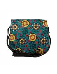 The House Of Tara Colourful Flap With Black PU Body Saddle Bag - B014P0AMQ2