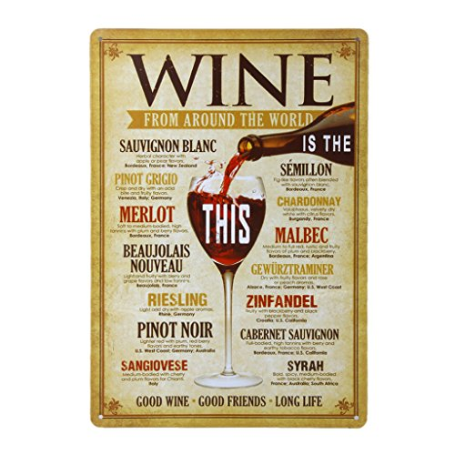 20x30cm Vintage Metal Tin Sign Plaque Wall Art Poster Cafe Bar Pub Wine #5 (Vintage Wine Poster compare prices)