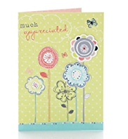 Glitter Flowers Thank You Card