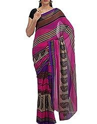 Unnati Silks Women Pink Chiffon Printed Saree