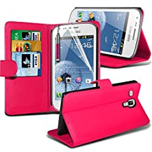 buy ( Hot Pink ) Samsung Galaxy Trend Plus S7580 Case Stylish Designed Bookstyle Pu Leather Wallet Leather Flip With 3 Credit / Debit Card Slot Skin Cover With Lcd Screen Protector Guard, Polishing Cloth & Mini Retractable Stylus Pen By Fone-Case