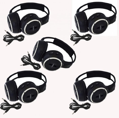 "Five Pack Of Two Channel Folding Adjustable Universal Rear Entertainment System Infrared Headphones With 5 Additional 48"" 3.5Mm Auxiliary Cords Wireless Ir Dvd Player Head Phones For In Car Tv Video Audio Listening"