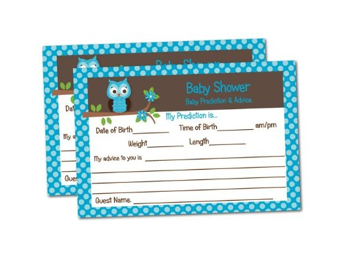 Baby Shower Advice & Prediction Cards for Mom Blue Owl Games (50-cards)