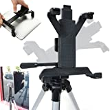 Accessory Basics Tablet Tripod Mount for Apple iPad 2 3 4 Air Mini Samsung Galaxy Tab Microsoft Surface Asus VivoTab 7″ 8″ 9″ 10″ Screen Tablet (Holder only, Tripod is not included)