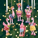 6 PINK FLAMINGO tropical CHRISTMAS tree ORNAMENTS