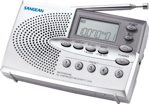 Sangean DT-220A AM/FM Stereo Pocket Size Radio with Self-Storage Headphones