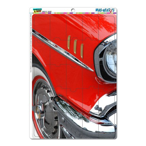 Graphics And More Red And Chrome Vintage Classic Car Mag-Neato'S Novelty Gift Locker Refrigerator Vinyl Puzzle Magnet Set front-600411
