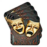 Ornate Tragedy & Comedy Theatre Masks Set Of 4 Premium Wooden Coasters