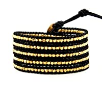 Chan Luu Gold Vermeil Wrap Bracelet on Black Leather