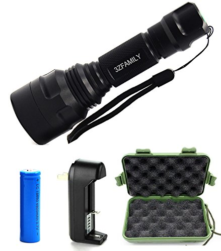 3ZFAMILY 800 Lumens Tactical Flashlight with 18650 Rechargeable Battery and AC Charger, 5 Modes, Polished Reflector, Water Resistant
