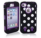 MagicSky Plastic Silicone Armored Hybrid Polka Dot Pattern Case for Apple iPhone 4 4S 4G - 1 Pack - Retail Packaging - Purple
