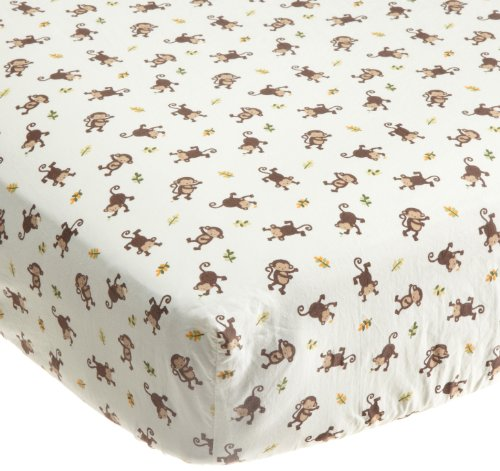 Kids Line Jungle 123 Fitted Sheet, Brown (Discontinued by Manufacturer)