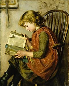 A Young Girl Reading by Charlotte Weeks Wall Mural - 30 Inches H x 24 Inches W - Peel and Stick Removable Graphic