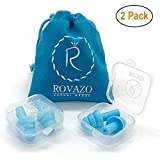 ROVAZO - Reusable Silicone Ear Plugs - 2 Pairs - NRR 32, Waterproof, Hypoallergenic - Ultra Comfortable Noise Reduction Earplugs for Swimming, Concerts and Airplanes - Bonus Travel Pouch (Color: Light Blue, Tamaño: 2 PACK)