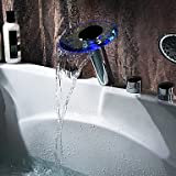Hydroelectric Power Chrome Two Handles LED Waterfall Glass Tub Faucet With Hand Shower