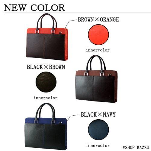 DIABLO ディアブロ ビジネスバッグ メンズ 牛革 帆布 2WAYバッグ ブラウン×オレンジ 【KA-306】