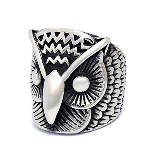 Mens Stainless Steel Finger Rings Retro Polish Owl Head Design Grey Size 7 - Adisaer Jewelry