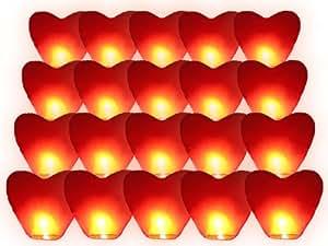 Lot de 20 lanternes volantes célestes thaïlandaise XXL cœur rouge amour couple saint valentin cadeau anniversaire mariage
