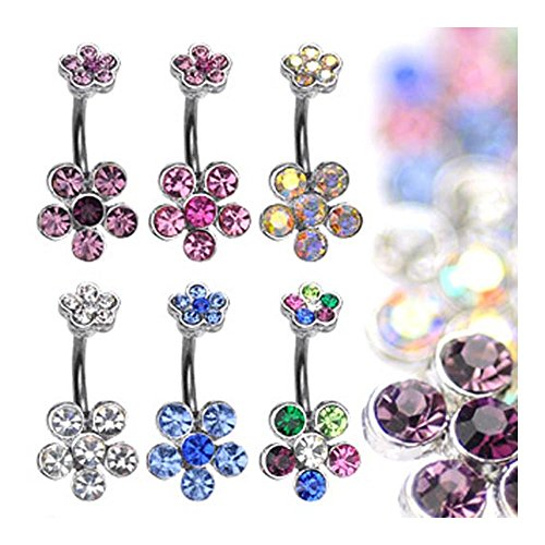 "{Aurora Borealis} Navel Belly Button Ring With Double 6-Gem Flower - 14 Ga 3/8"" Long - Aurora Borealis"