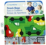 Reusable Snack Bags - Small 2 Pack Green Grey On the Go Fire Engine