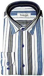 Tricon Men's Slim Fit Blended Striped Shirt (SS105_Blue_Medium)
